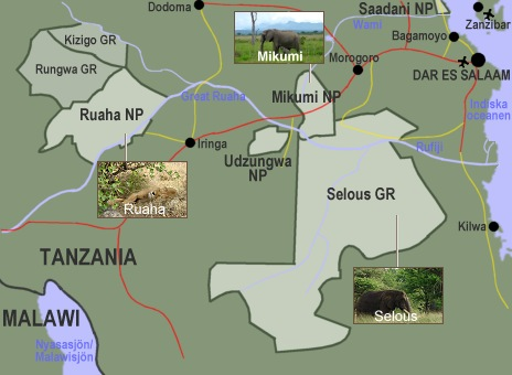 Karta över södra Tanzania.